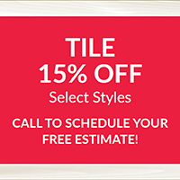 National Flooring Extravaganza Sale Going On Now! 15% off select tile styles – Call to schedule your free estimate!